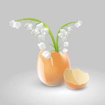Vector illustration of lilies of valley in eggshell on grey background - бесплатный vector #127337