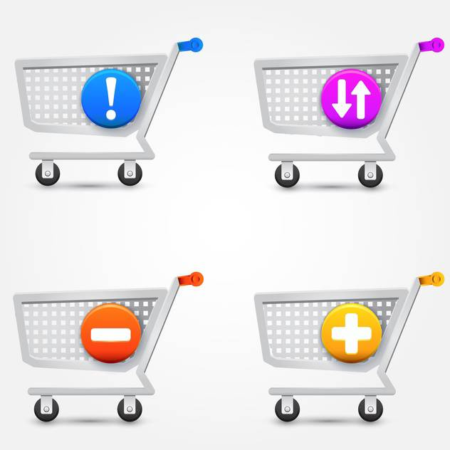 vector set of shopping basket icons on white background - Free vector #127367