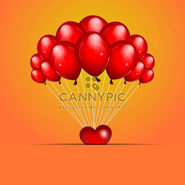 holiday background with red balloons for greeting card - Free vector #127377