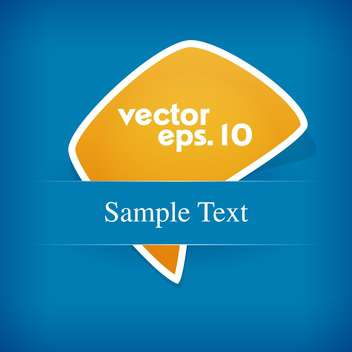 Vector yellow label on blue background and text place - Free vector #127387