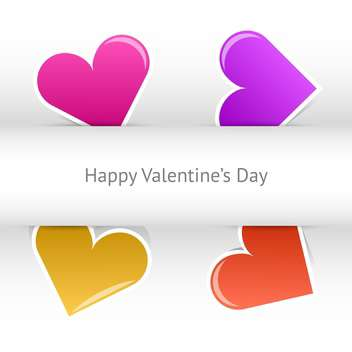 Vector valentines day card with colorful hearts and text place - Free vector #127457
