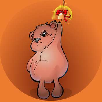 Brown teddy bear with golden bell - vector gratuit #127467