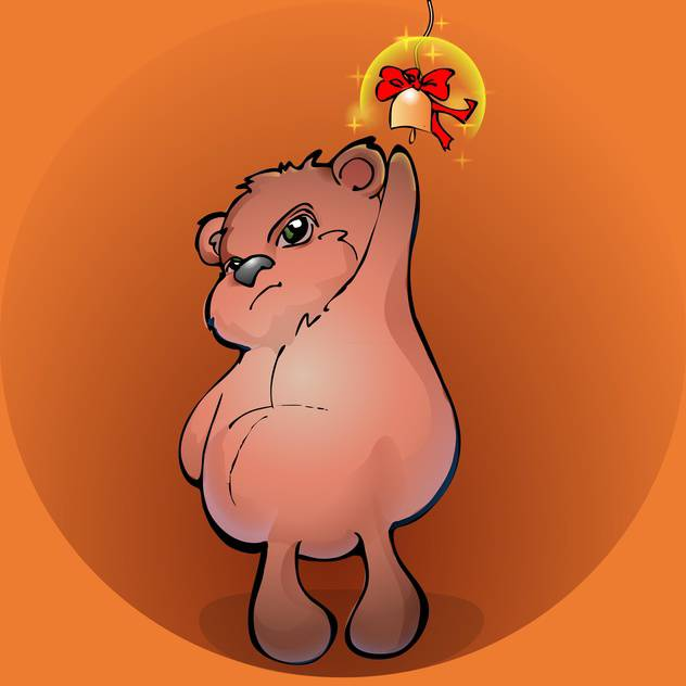 Brown teddy bear with golden bell - vector #127467 gratis