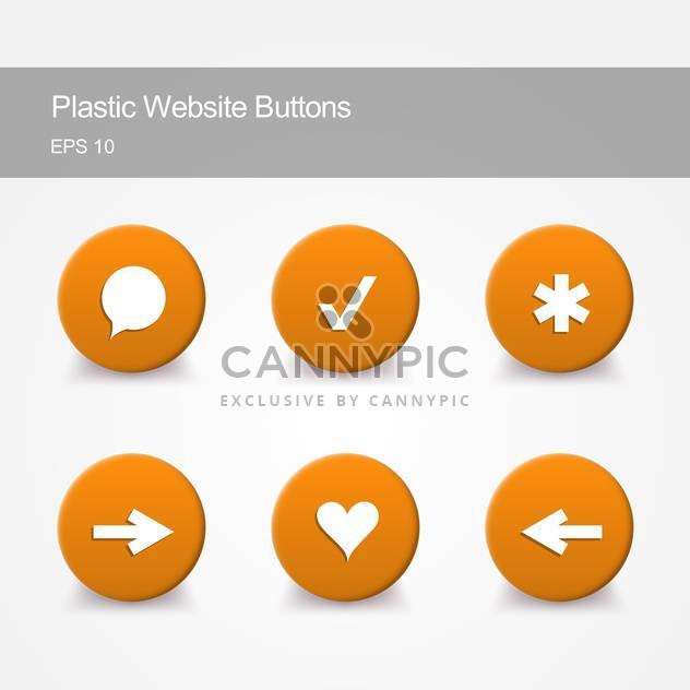 Plastic website buttons with round shaped icons on grey background - Free vector #127487