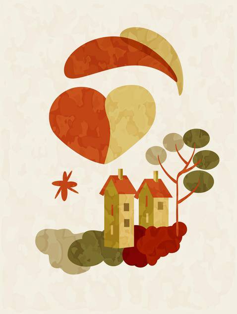 holiday background of houses on Valentines Day - Free vector #127507