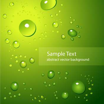 abstract background with water drops on green background - vector gratuit #127557