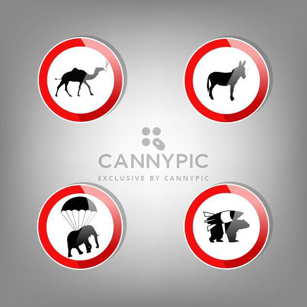 Animal round shaped warning signs on grey background - Free vector #127567