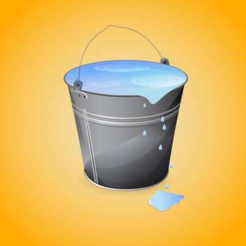 vector illustration of gray bucket of water on orange background - vector gratuit #127597