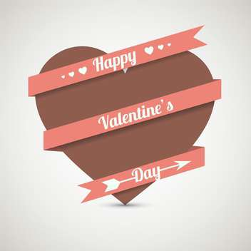 love heart with ribbon for valentine card - vector gratuit #127607