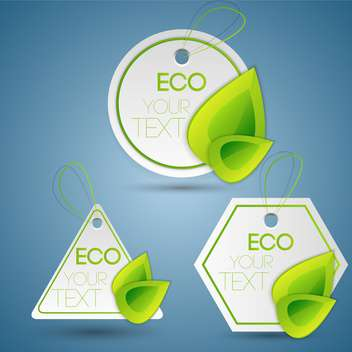 Vector set of green eco labels on blue background - Free vector #127647