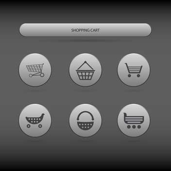 simple icons of shopping carts and baskets on grey background - бесплатный vector #127677