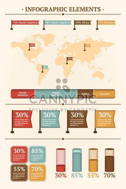 Vector set of infographics elements on beige background - Free vector #127687