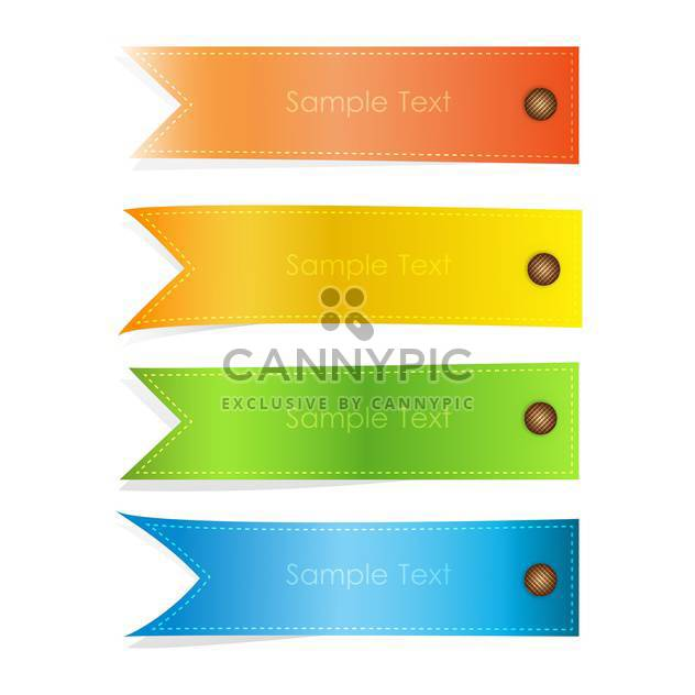 vector set of colorful banners on white background with text place - Free vector #127717