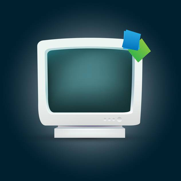 vector illustration of computer monitor on dark background - бесплатный vector #127737