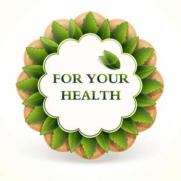 healthy promo sticker with green leaves on white background - vector gratuit #127747