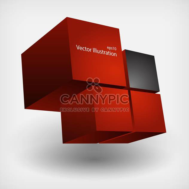 Abstract geometric background with red and black cubes - Free vector #127787