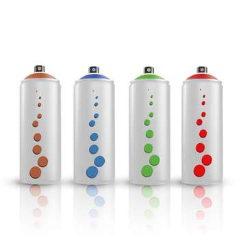 vector illustration of colorful spray tins on white background - vector gratuit #127827