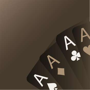 four aces playing cards on brown background - vector gratuit #127847