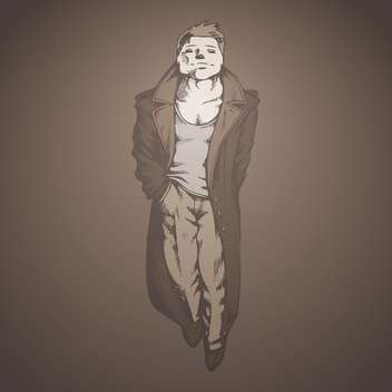 vector illustration of handsome man in raincoat on grey background - vector #127877 gratis