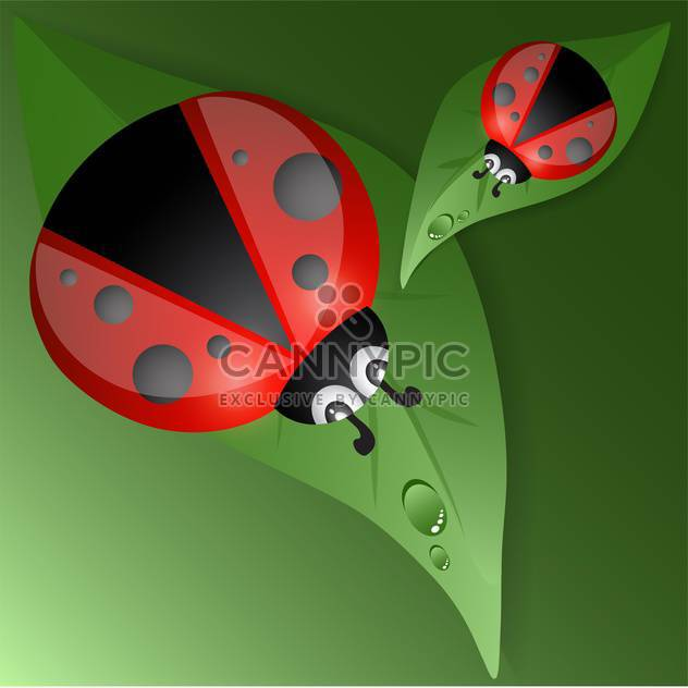 Green leaves design with red ladybugs - Free vector #127927