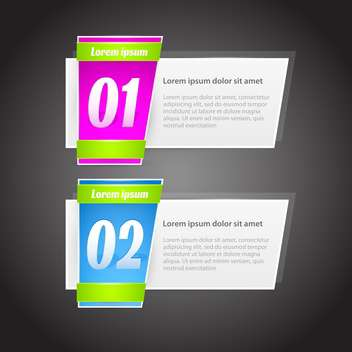 steps banners with glossy colorful tags on grey background - vector gratuit #127987