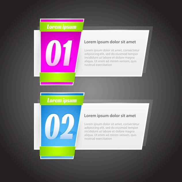 steps banners with glossy colorful tags on grey background - Free vector #127987
