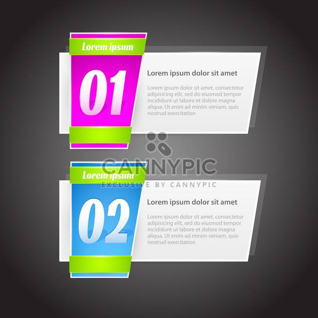 steps banners with glossy colorful tags on grey background - vector #127987 gratis