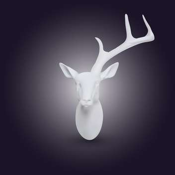 Vector white head of deer with one horn on dark background - vector gratuit #128067
