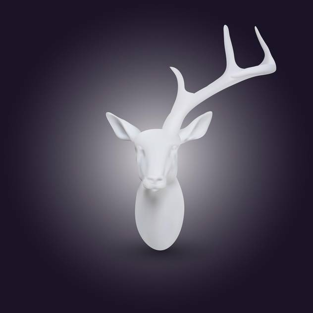 Vector white head of deer with one horn on dark background - Free vector #128067