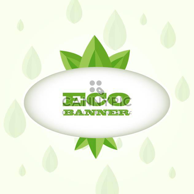 vector illustration of green eco banner on white background - Free vector #128077