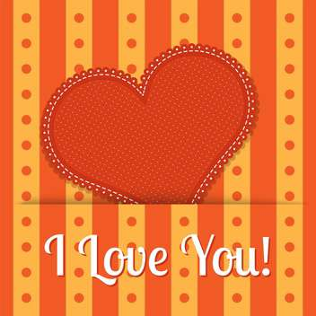 Vector valentine card with orange heart - vector gratuit #128097