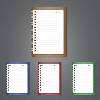 vector illustration of empty notebooks on grey background with text place - vector gratuit #128107