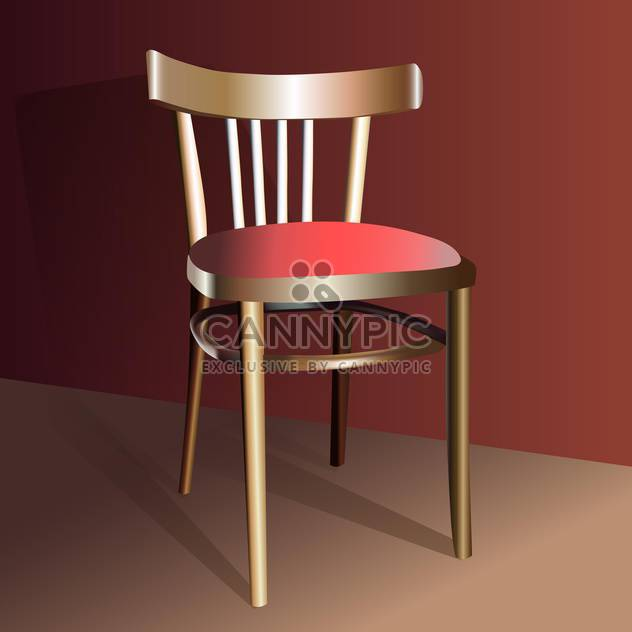 Realistic wooden chair, vector icon - Free vector #128237