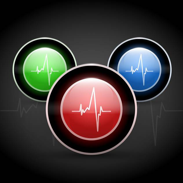 Heart beat on colored round web buttons - бесплатный vector #128267