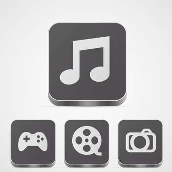 Set with app media vector buttons on white background - vector #128277 gratis