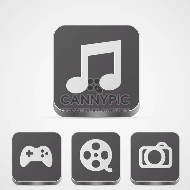 Set with app media vector buttons on white background - Free vector #128277