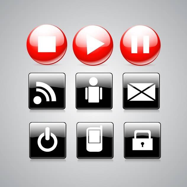 Glossy black and red media buttons - vector gratuit #128357