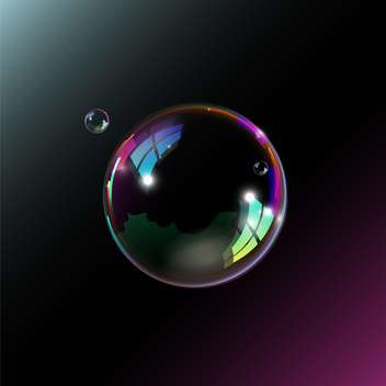 One big soap bubble with two smaller ones illustration on black background - vector gratuit #128387