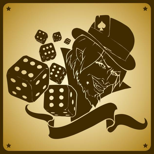 Vector illustration of joker and dices - vector gratuit #128477