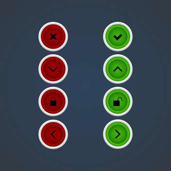 Vector web green and red icon set - vector #128687 gratis