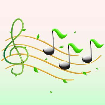 Summer music with notes and leaves - vector gratuit #128817