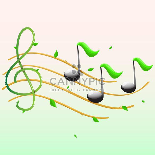 Summer music with notes and leaves - Kostenloses vector #128817