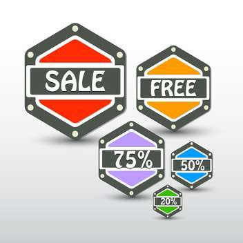 Set of hexagonal colorful vector sale labels - vector gratuit #128877