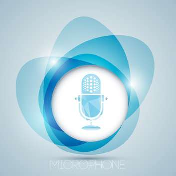 Vector icon with blue vintage microphone - Free vector #128887