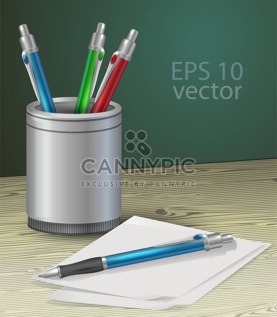 Colorful pens or pencils set on a wooden table vector illustration - Kostenloses vector #128917