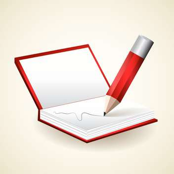 Vector illustration of notepad with red pencil - vector gratuit #128947