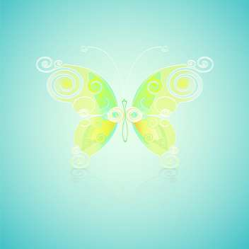 Vector illustration of green butterfly on blue background - Free vector #128957