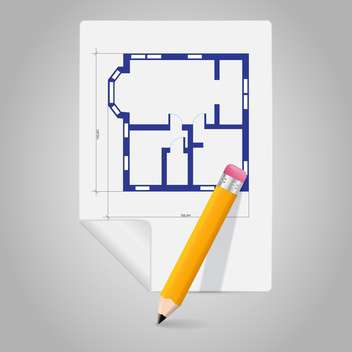 Vector architectural project blueprint icon and pencil - бесплатный vector #129287