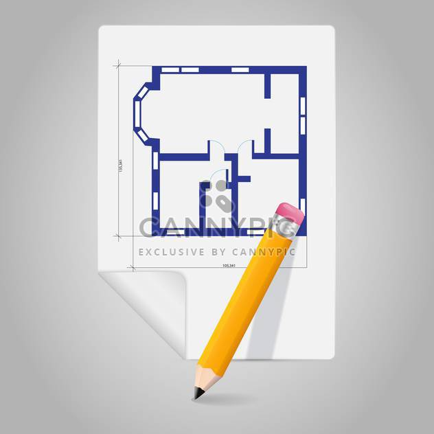 Vector architectural project blueprint icon and pencil - Free vector #129287