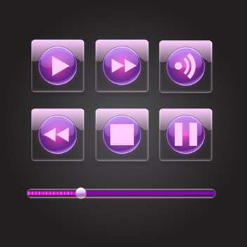 Vector set of purple glossy media buttons - Free vector #129297
